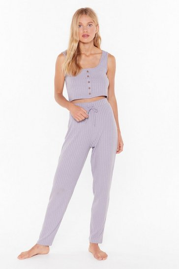 Womens Lilac Knit Wasn't Me Ribbed High-Waisted Joggers