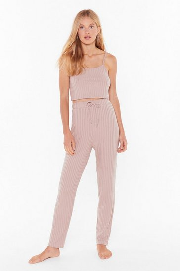 Womens Nude Knit Wasn't Me Ribbed High-Waisted Joggers