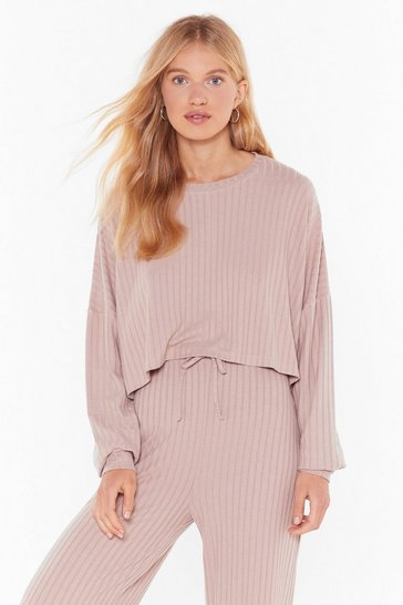 Womens Nude Knit Wasn't Me Ribbed Relaxed Sweater
