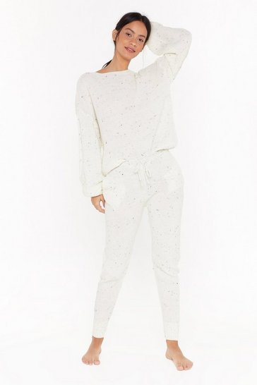 Womens Cream Fleck balloon sleeve sweater & jogger set