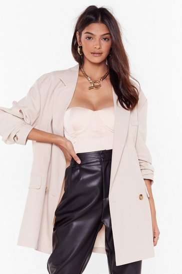 Womens Beige This Meeting's Oversized Double Breasted Blazer