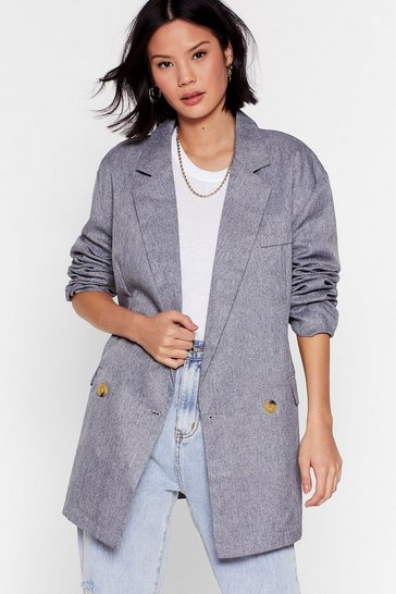 Womens Charcoal This Meeting's Oversized Double Breasted Blazer