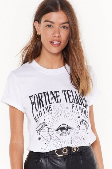 Womens White Fortune Favors Graphic Tee
