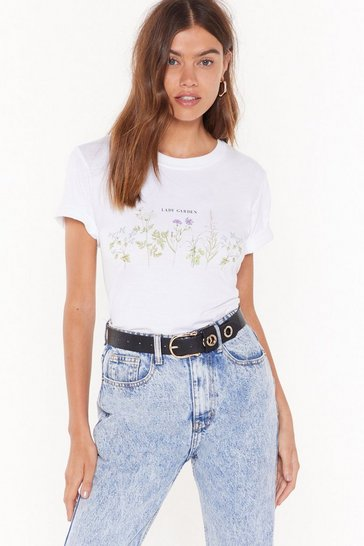 Womens White Lady Garden Floral Graphic Tee