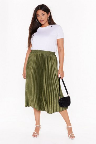 Womens Green   PLUS pleated midi skirt