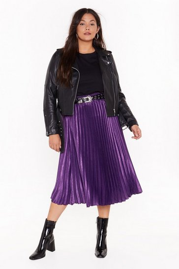 Womens Purple   PLUS pleated midi skirt