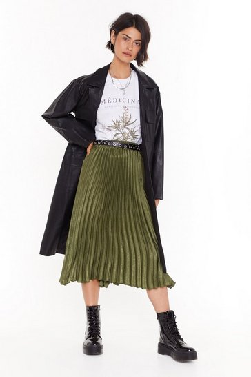 Green The Pleat of the Moment Midi Skirt