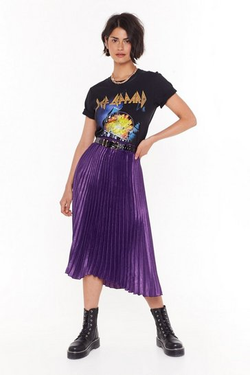 Womens Purple The Pleat of the Moment Midi Skirt