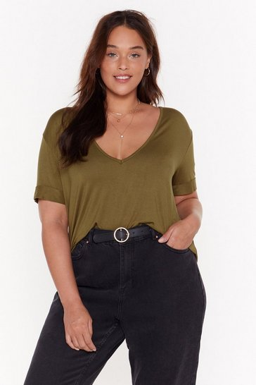 Womens Olive Plus riley scoop tee