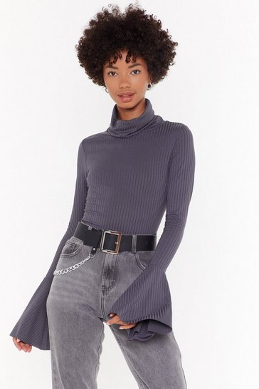 Womens Charcoal Flare's Nothin' Holdin Me Back Ribbed Sweater
