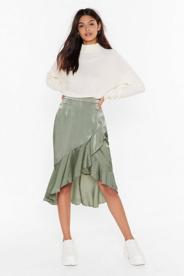 Womens Sage After the Frill is Gone Satin Midi Skirt