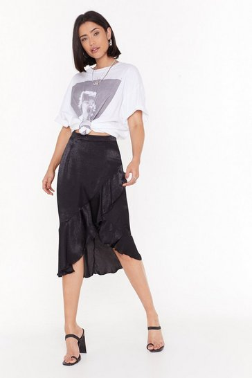 Womens Black After the Frill is Gone Satin Midi Skirt
