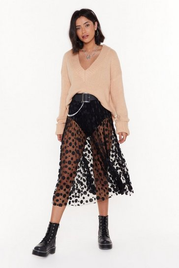 Womens Black Spot to Be Missed Polka Dot Midi Skirt