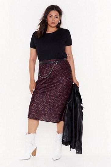 Womens Black A Little Biased But Plus Polka Dot Midi Skirt