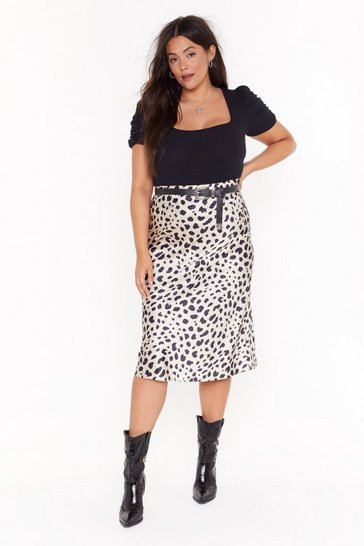 Womens Beige Paws and Reflect Dalmatian Plus Midi Skirt