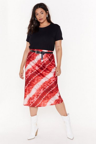 Rust Blurred Lines Plus Tie Dye Midi Skirt