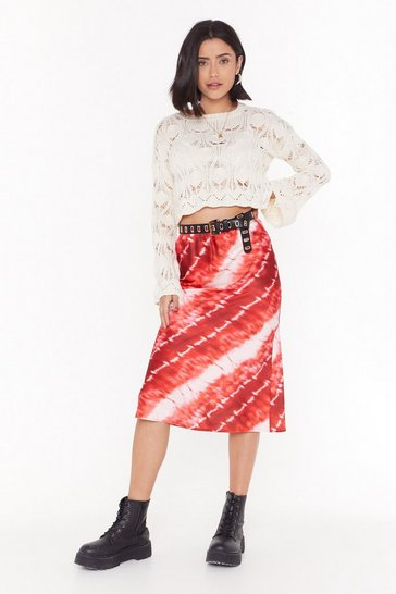 Womens Rust Blurred Lines Tie Dye Midi Skirt