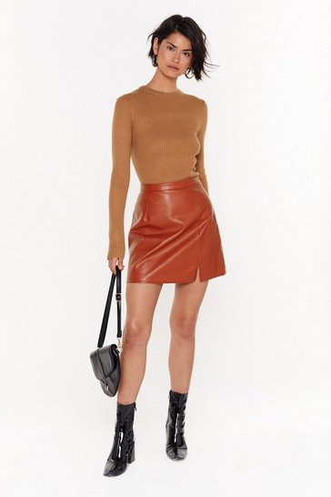 Womens Rust Leather Apologise Faux Leather Mini Skirt