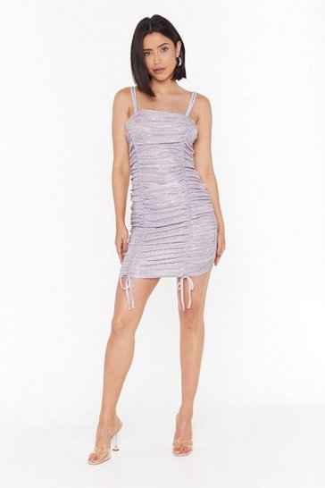 Womens Lilac Till the Glitter End Mesh Mini Dress