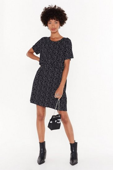 Womens Black Gonna Go Star Relaxed Mini Dress