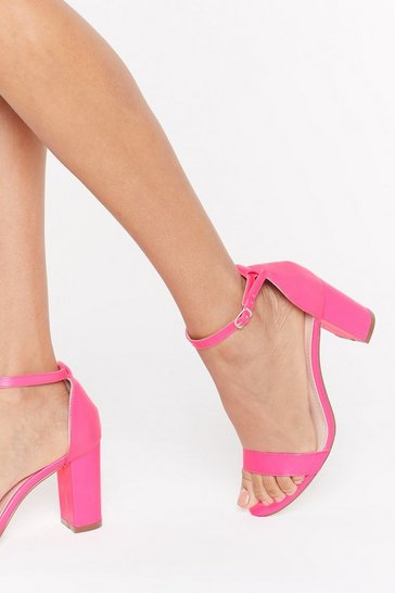 Womens Fuchsia Step on Up Faux Leather Neon Heels