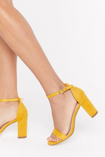 Womens Yellow Let's Take a Walk Faux Suede Heels
