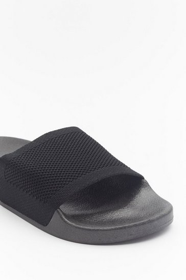 Womens Black Welcome to the Dark Slide Sliders