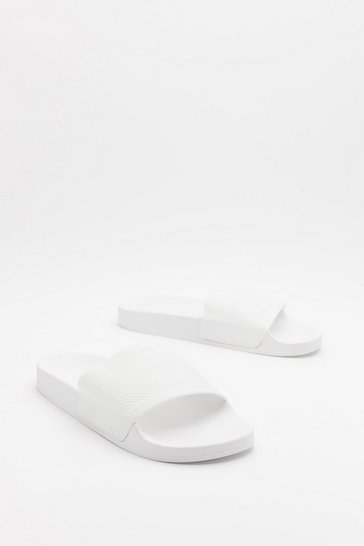Womens White Welcome to the Dark Slide Sliders