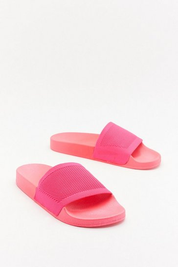 Womens Fuchsia Welcome to the Dark Slide Sliders