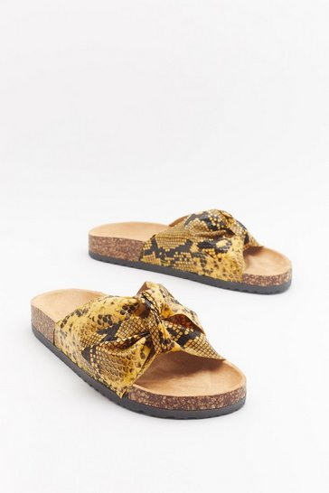 Womens Yellow Don't Wanna Hiss a Thing Snake Sliders