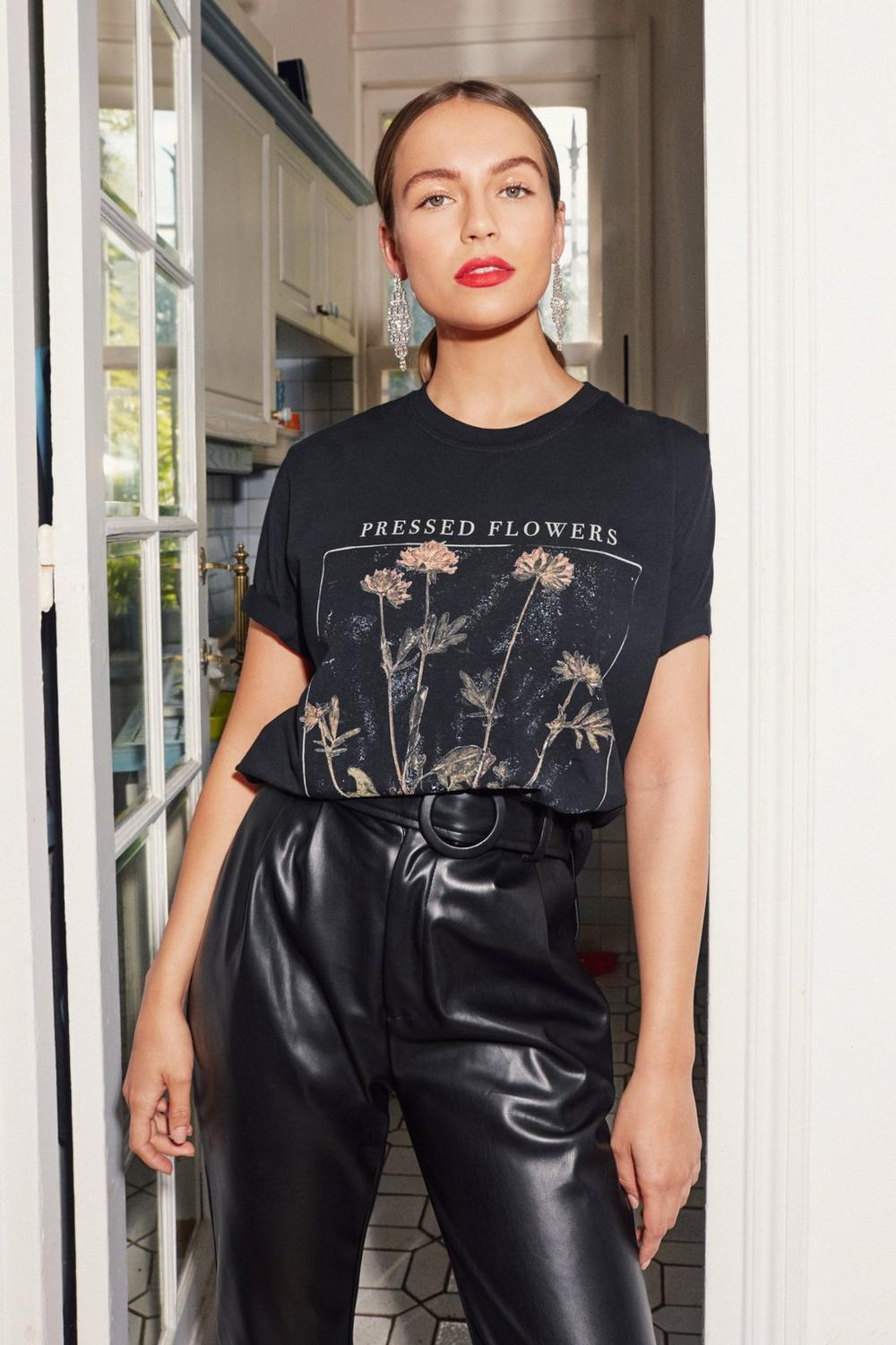 Pressed For Time Floral Graphic Tee by Nasty Gal