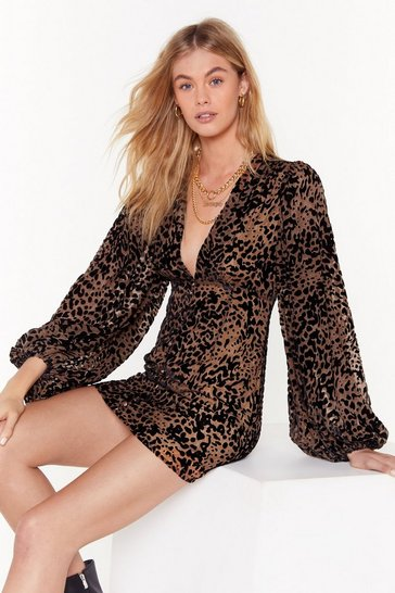 Brown Dancing in the Dark Leopard Mini Dress