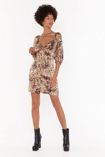 Brown Into the Wild Leopard Mini Dress