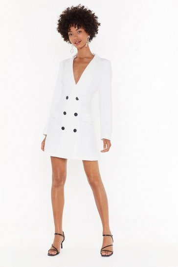 Womens White Work for Me V-Neck Blazer Dress