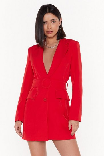 Womens Red Never Too Busy Belted Blazer Dress