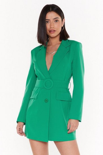 Womens Emerald Never Too Busy Belted Blazer Dress