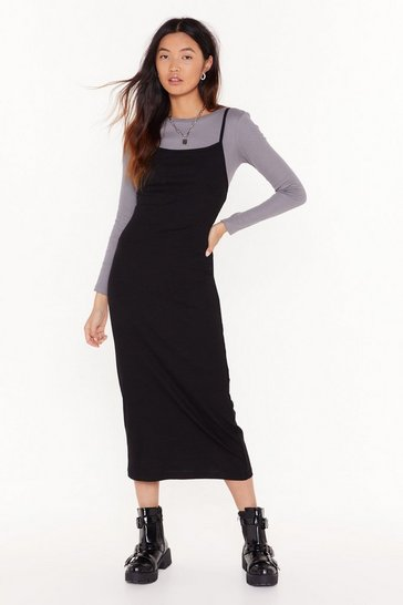 Womens Black I Don't Square Neck Ribbed Maxi Dress