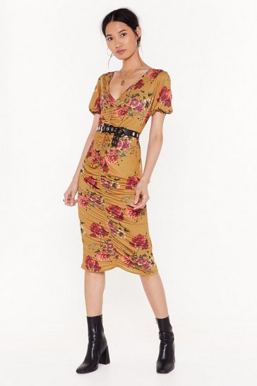 Womens Mustard   floral ruched front midi dress