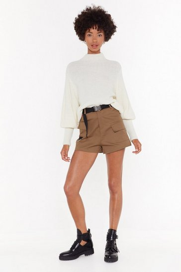 Womens Camel Stand to Attention High-Waisted Utility Shorts