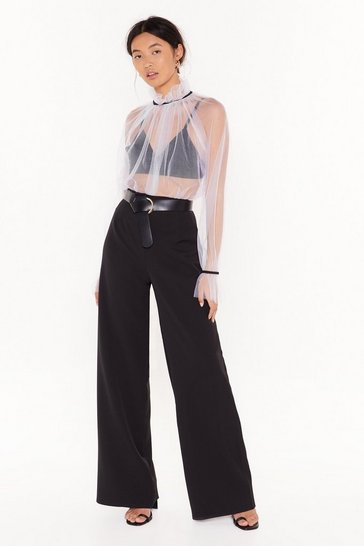 Womens Black Taking It in Our Wide-Leg Pants