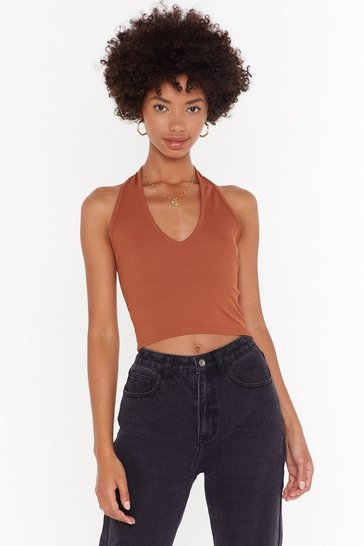 Womens Rust Basic halterneck crop top
