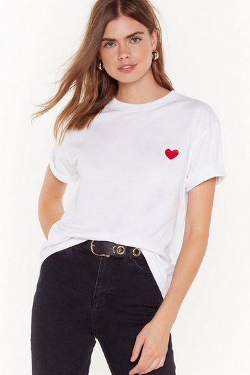 Womens White Key to My Heart Embroidered Tee