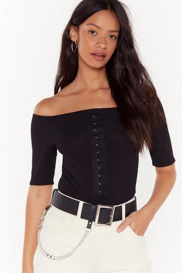 Womens Black For Your Eyes Only Off-the-Shoulder Bodysuit