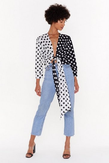 Womens Black Dot Over It Contrast Polka Dot Tie Top