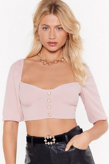 Womens Sand Get the Pearls Ribbed Crop Top