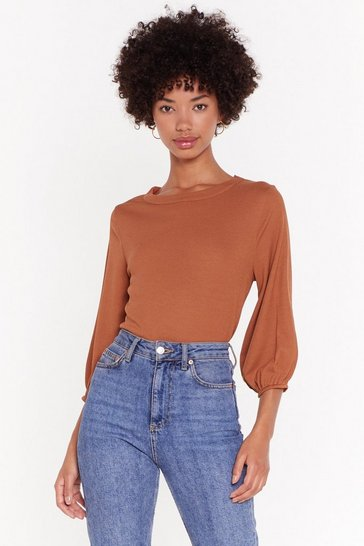 Womens Rust Rib Oversized Slouch Top