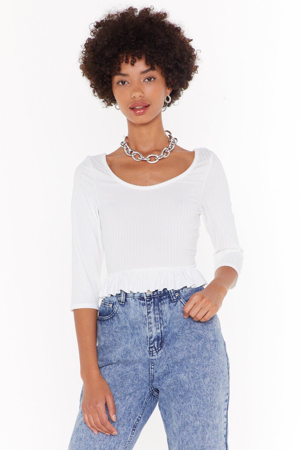 You're Frill The One Ribbed Crop Top by Nasty Gal
