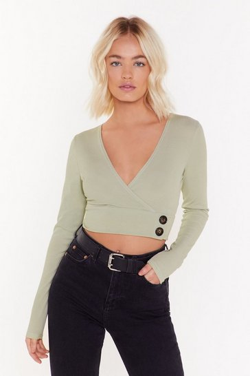 Womens Sage The V to Life Ribbed Crop Top