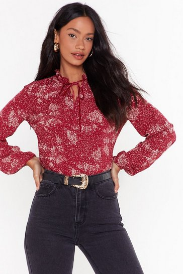 Womens Burgundy  Floral Ruffle Blouse