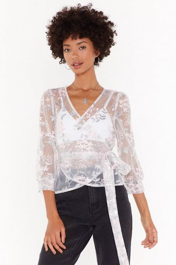 Womens White Embroidered Floral Wrap Blouse
